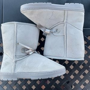 2/$15 Grey slip on boots, new without tags